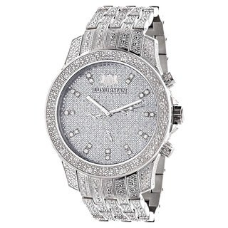 Luxurman Men's 'Iced Out' Diamond Watch Metal Band plus Extra Leather Straps