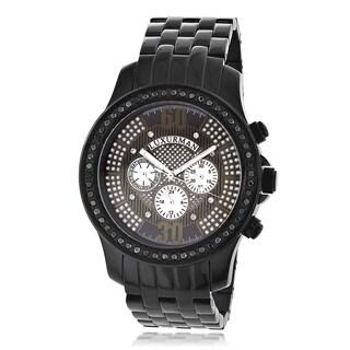 Luxurman Men's Black Diamond Bezel Stainless Steel Watch Metal Band plus Extra Leather Straps