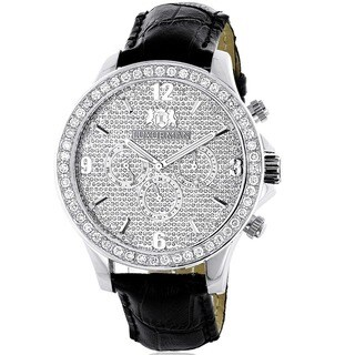 Luxurman Men's Stainless Steel 2 1/6ct TDW Diamond Watch with Two Extra Leather Straps