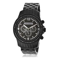 Luxurman Men's Black Diamond Stainless Steel Watch Metal Band plus Extra Leather Straps