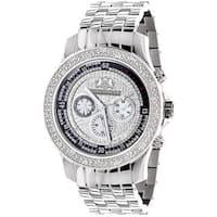 Luxurman Men's 1/4ct TDW White Diamond Watch Metal Band plus Extra Leather Straps