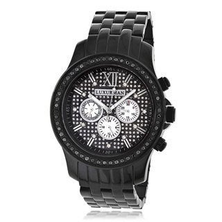 Luxurman Men's Stainless Steel Black Diamond Watch Metal Band plus Extra Leather Straps