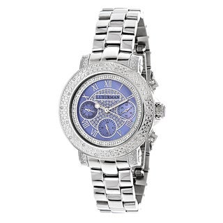 Luxurman Women's 1/3ct TDW White Diamond Blue Mother of Pearl Watch with Metal Band and Extra Leathe