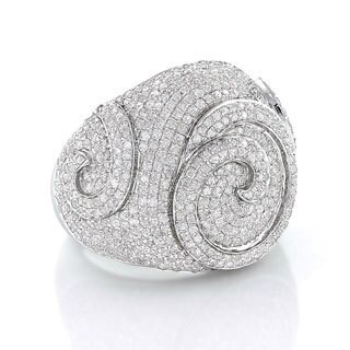 Sterling Silver 3 1/10ct TDW Men's Swirl Diamond Ring (H-I, I1-I2)