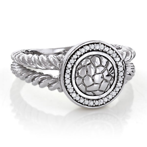 Textured Sterling Silver 1/8ct TDW Diamond Ring