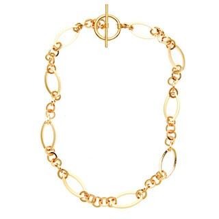 Simon Frank Brass 30-inch Triple Round Link Fashion Chain Necklace