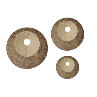 Handmade Round Double Layer Ribbed Wall Plaque (Set of 2) (China)