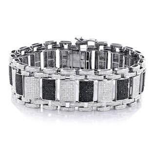 Luxurman 10k White Gold 8 1/2ct TDW Black and White Diamond Bracelet (I-J, SI1-SI2)