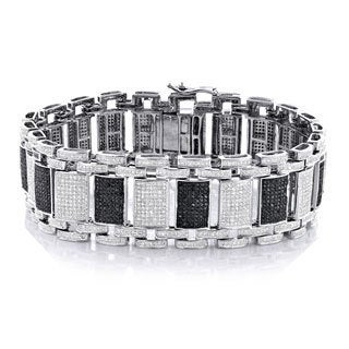 Luxurman 10k White Gold 8 1/2ct TDW Black and White Diamond Bracelet