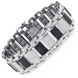 Luxurman 10k White Gold 8 1/2ct TDW Black and White Diamond Bracelet