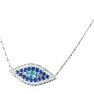 Beverly Hills Charm 14k White Gold 1/6 TDW Blue Sapphire and Blue Evil Eye Necklace (H-I, SI2-I1)