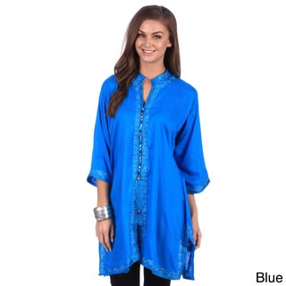 Moroccan Handmade Women's Bohemian Vintage Colorful Cotton Silk Embroidered Button Caftan Tunic
