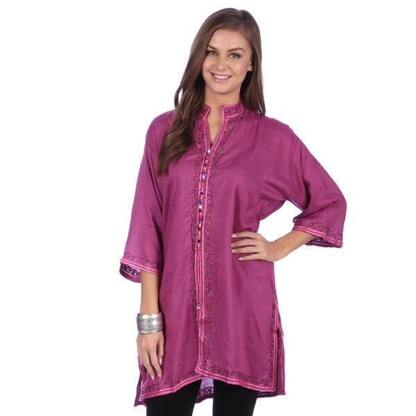 cc8bacd167a Handmade Moroccan Women's Bohemian Vintage Colorful Cotton Silk  Embroidered Button Caftan Tunic