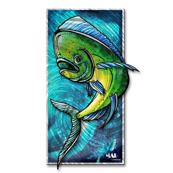Megan Duncanson 'Dolphin 1' Abstract Metal Wall Art