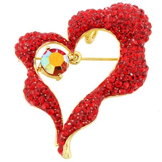 Heart Pin Crystal Fashion Pin Brooch and Pendant