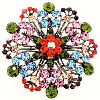 Multicolor Stone Flower Wedding Brooch/ Pendant