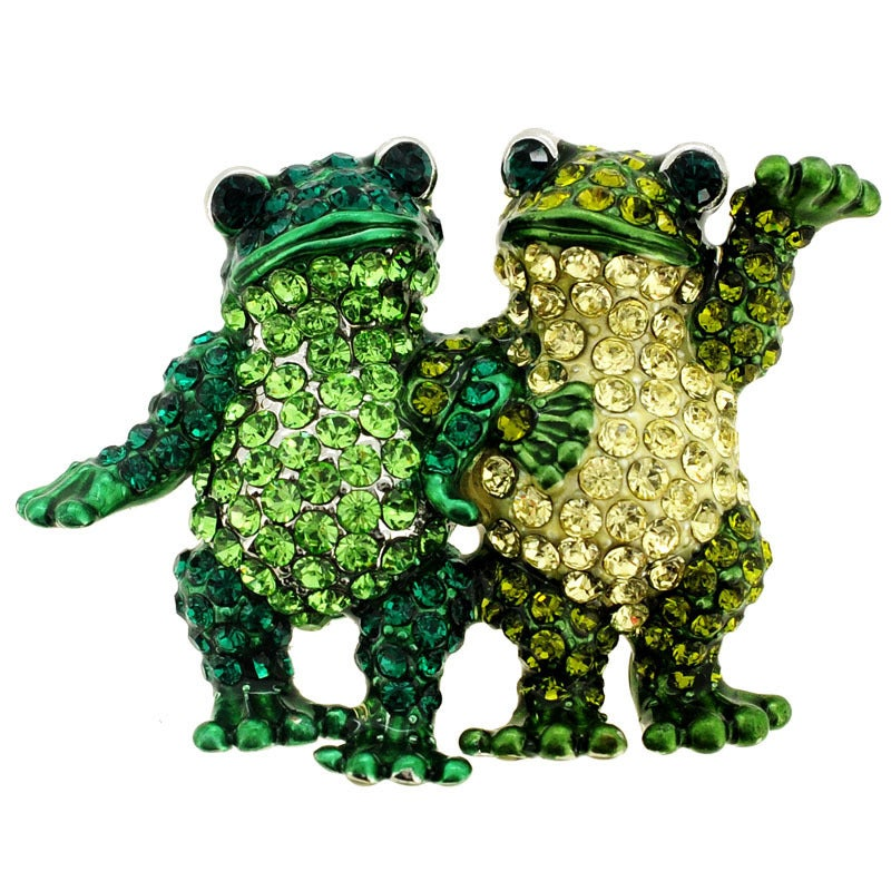 Green Crystal Frog Couple Animal Brooch (Green Couple Fro...