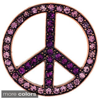 Purple Peace Sign Amethyst Pin Brooch