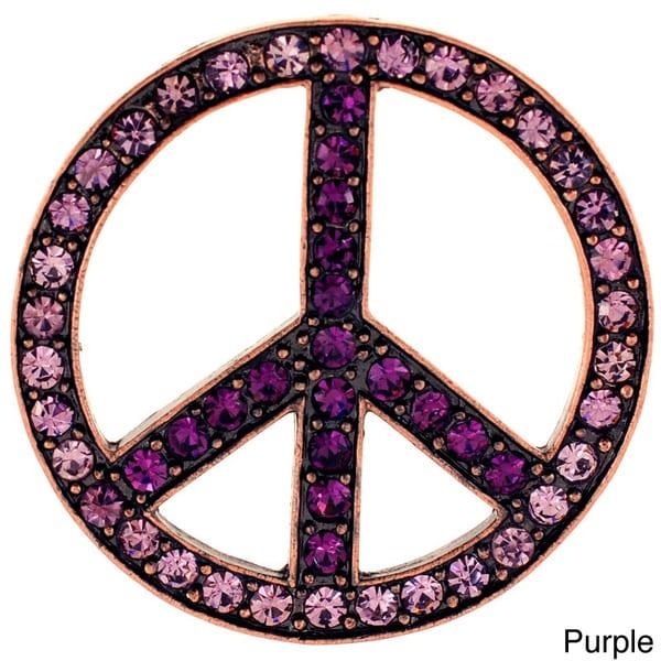 Purple Peace Sign Amethyst Pin Brooch