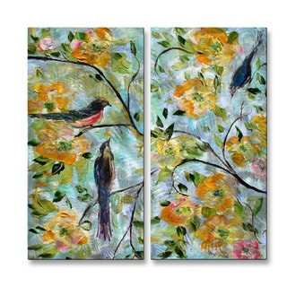 Karen Tarlton 'Birds and Blooms' Metal Wall Hanging