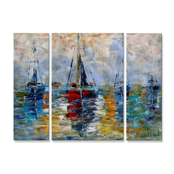 Karen Tarlton u0026#x27;Harbor Boatsu0026#x27; Metal Wall Decor  sc 1 st  Overstock & Shop Karen Tarlton u0027Harbor Boatsu0027 Metal Wall Decor - Free Shipping ...