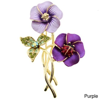 Topaz Hawaiian Hibiscus With Red Ladybug Pin with Crystal Pin Brooch (Option: Pink)