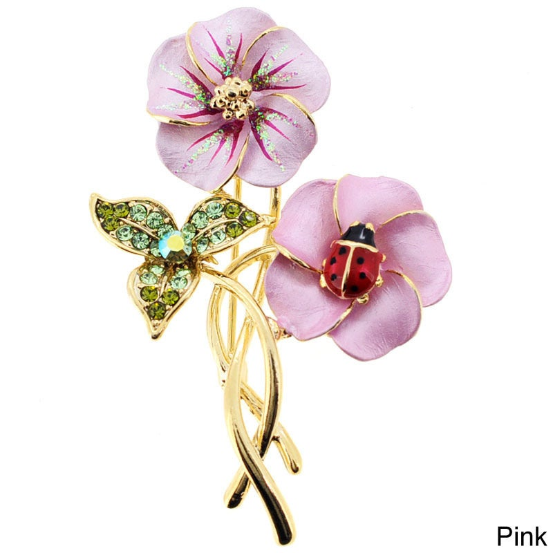 Topaz Hawaiian Hibiscus With Red Ladybug Pin with Crystal...