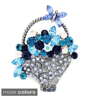 Multicolor Flower Basket with Butterfly Crystal Pin Brooch