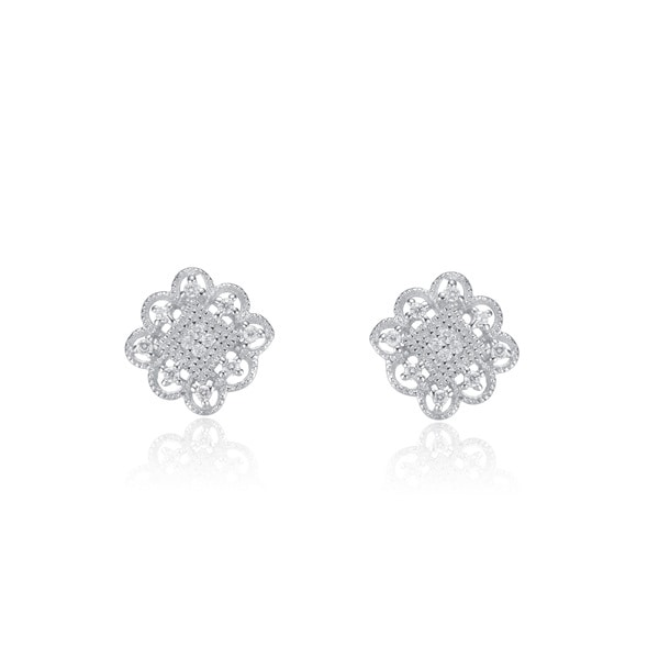 Collette Z Sterling Silver Cubic Zirconia Square Lace Earrings