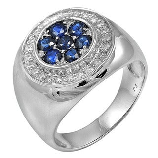 De Buman 14k White Gold Sapphire and 3/8ct TDW Diamond Ring (H-I, I1-I2)