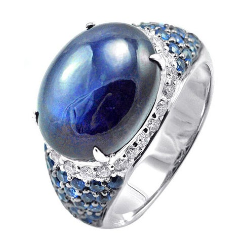 De Buman 14k White Gold Sapphire and 2/5ct TDW Diamond Ring (H-I, I1-I2) (Size 7)