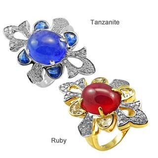 De Buman 14k Yellow/white Gold Gemstone and 2/5ct TDW Diamond Ring (H-I, I1-I2)