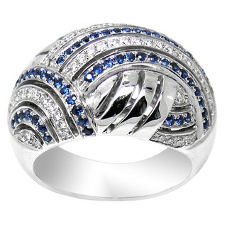 De Buman 18K White Gold Genuine Sapphire and 1/3ct TDW Diamond Ring (G-H, SI3)