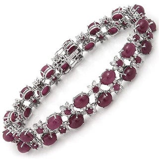 De Buman 14K White Gold Natural Ruby and 1 3/4ct TDW Diamond Bracelet (H-I, I1-I2)