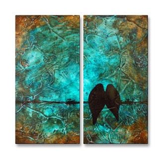 Brittney Hallowell 'Just Cant Say Goodnight-2' Metal Wall Art 2-panel Set
