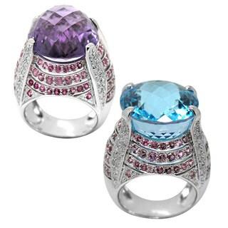 De Buman 14k White Gold Amethyst or Blue Topaz Gemstone and 5/8ct TDW Diamond Ring (H-I, I1-I2)