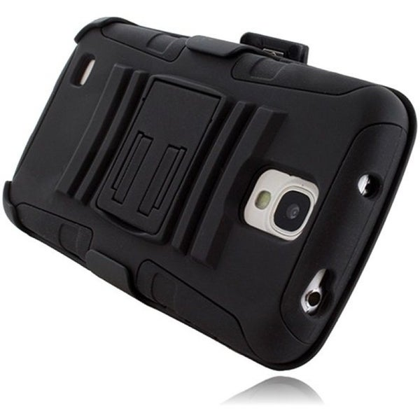 INSTEN Advanced Armor Hybrid Stand PC Soft Silicone Holster with Phone Case Cover for Samsung Galaxy S4 Active GT-I9295