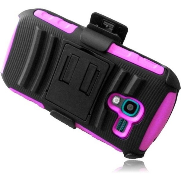 INSTEN Advanced Armor Dual Layer Hybrid Stand PC Soft Silicone Holster w/ Phone Case Cover for Samsung Galaxy Exhibit SGH-T599