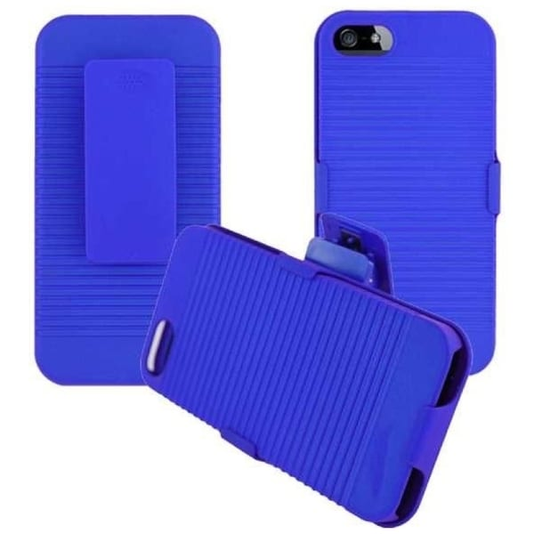 INSTEN Blue Rubberized Hard Plastic Snap-on Holster Phone Case Cover with Stand for Apple iPhone 5/ 5S