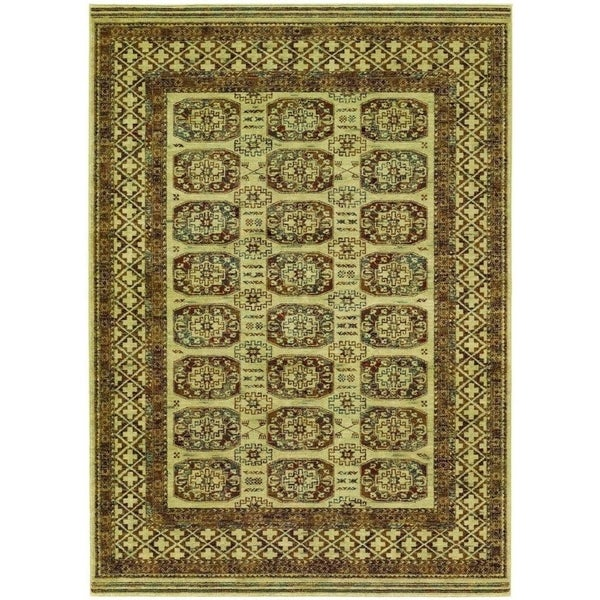 Couristan Timeless Treasures Afghan Panel/ Antique Cream Wool Area Rug - 5'3 x 7'6