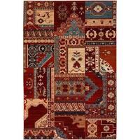 Timeless Treasures Kerman Mosaic Burgundy-Rust Wool Area Rug - 6'6 x 9'10