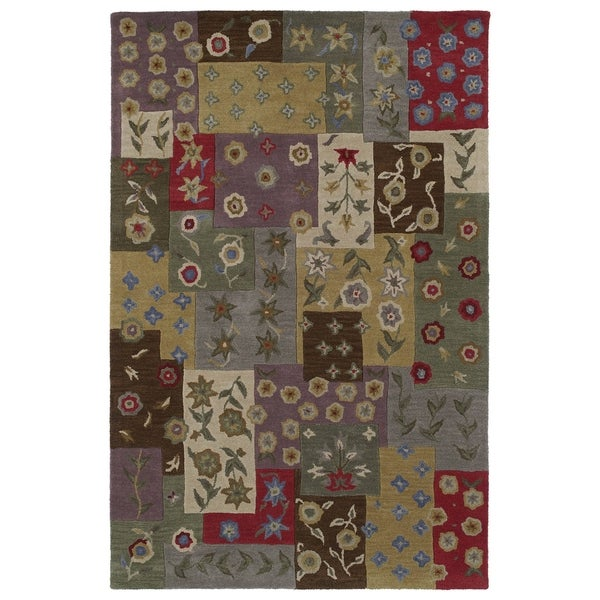 Lawrence Multi Patchwork Hand-Tufted Wool Rug (5' x 7'9)