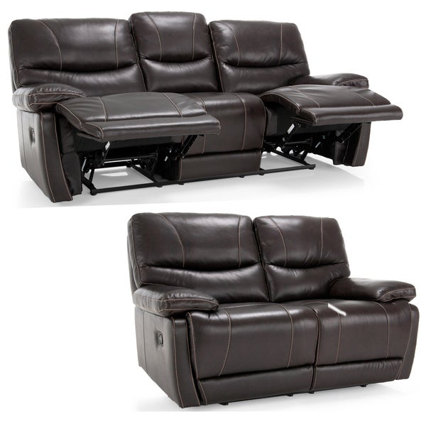 Espresso Leather Reclining Sofa: Bond Espresso Brown Italian Leather Reclining Sofa And