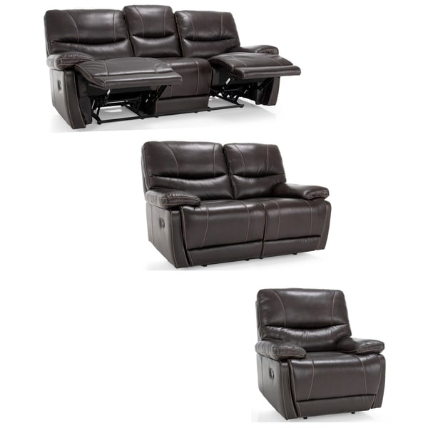 Espresso Leather Reclining Sofa: Shop Bond Espresso Brown Italian Leather Reclining Sofa