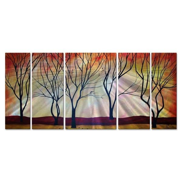 Peggy Davis 'Five Trees' Metal Wall Hanging