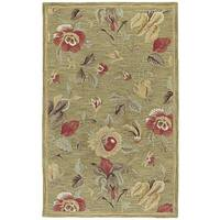 Lawrence Light Olive Floral Hand-Tufted Wool Rug - 5' x 7'9""