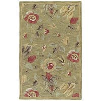 Lawrence Light Olive Floral Hand-Tufted Wool Rug - 7'6 x 9'