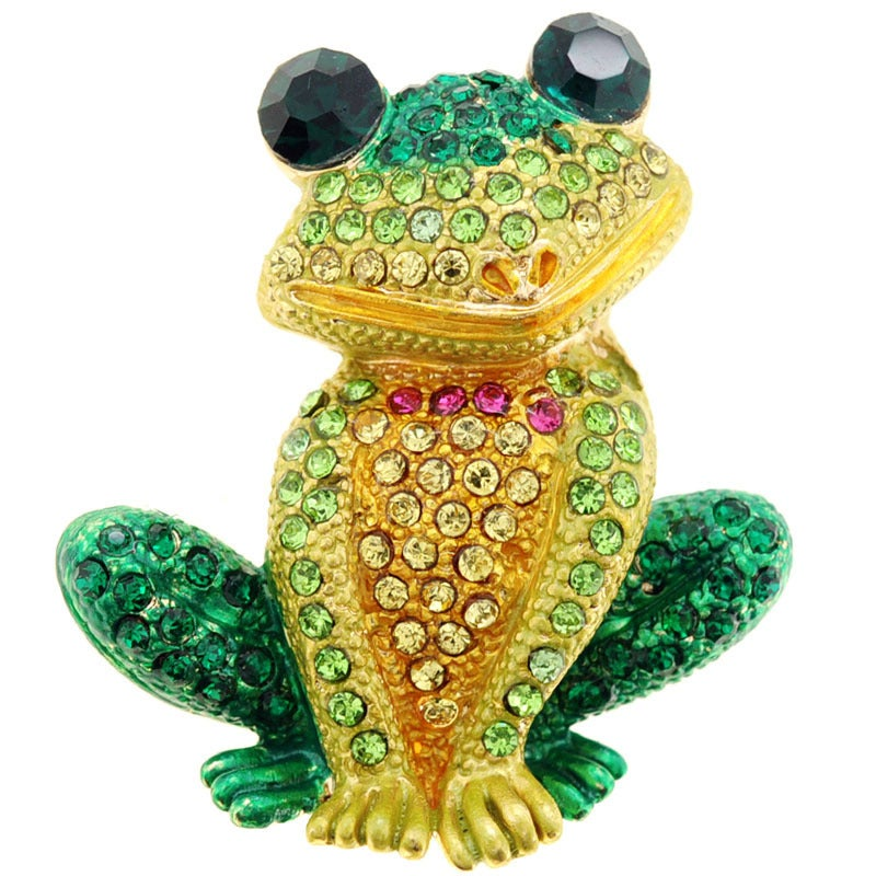 Green Frog Animal Brooch (Green Frog Pin), Women's