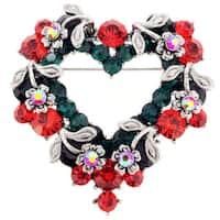 Vintage Style Heart Flower Wreath Brooch