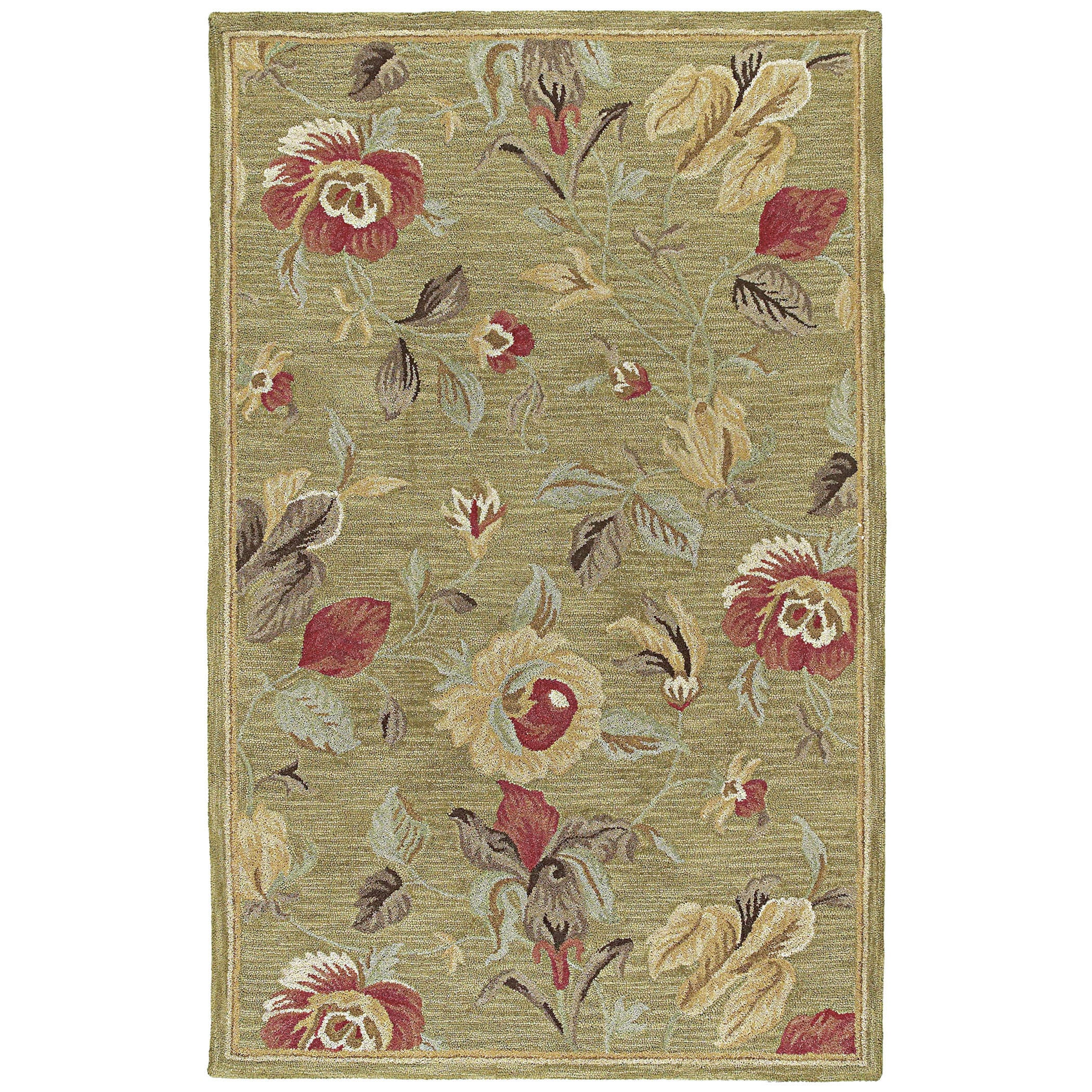 Lawrence Light Olive Floral Hand-Tufted Wool Rug (96 x 130) - 96 x 13 (Olive - 96 x 13)